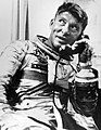 Wally Schirra talking on the phone after Mercury-Alas 8 mission.jpg
