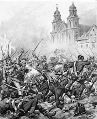 Black and white sketch showing a group of people fighting in close quarters in front of a church