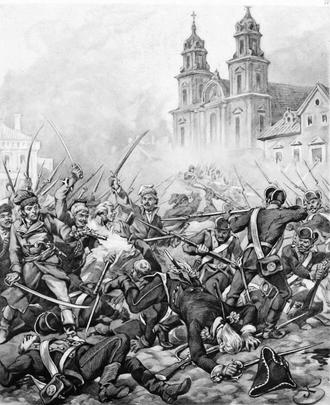 Warsaw Uprising (1794) - Fights at Krakowskie Przedmieście, by Juliusz Kossak (top) Historical reconstruction in the Saxon Garden (bottom)