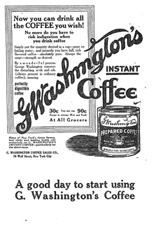 A pre-World War I advertisement introduced Washington's coffee to the public. Advert from The New York Times, February 23, 1914.