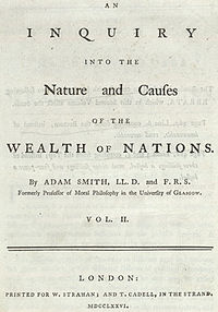 Adam Smith's title page of The Wealth of Nations. Wealth of Nations title.jpg