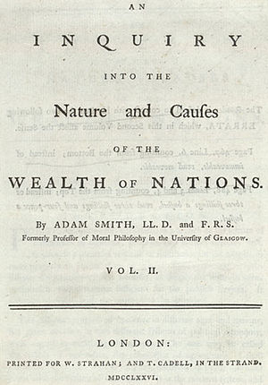 Title page of Adam Smith's Wealth of Nations, ...