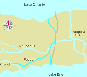 First Welland Canal - The complete First Welland Canal including the Feeder Canal and the extension to Port Colborne. The present-day canal is marked in pale grey
