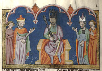 Zimri (king) - Depiction of the coronation of Zimri, from Rudolf von Ems' Chronicle of the World.