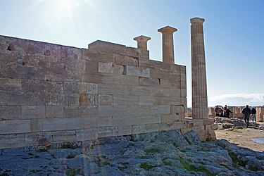 Western corner of the Temple of Athena Lindia 2010.jpg
