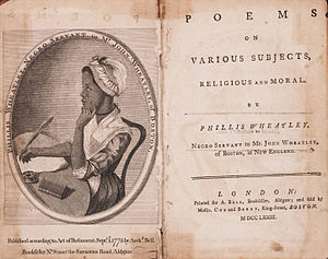 Poems on Various Subjects, Religious and Moral - Title page and frontispiece of the 1st edition