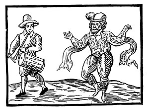Morris dance - Illustration of William Kempe Morris dancing from London to Norwich in 1600