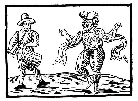 English Elizabethan clown Will Kempe dancing a jig from London to Norwich in 1600
