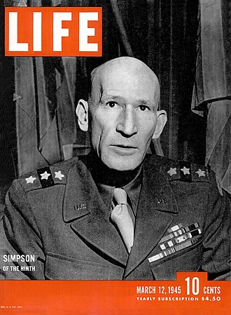 Ninth United States Army - Lieutenant General William Hood Simpson, commander of the Ninth Army (Life, March 12, 1945)