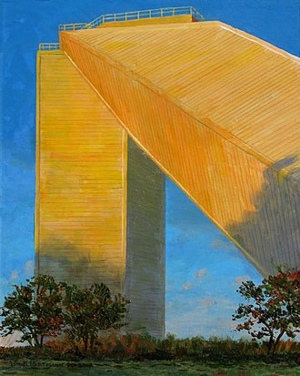McMath–Pierce solar telescope - A painting by Tucson astronomer and space artist William K. Hartmann, done on site, showing the McMath-Pierce telescope glowing golden in the light of the setting sun.