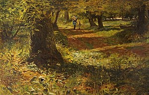William Morrison Wyllie - Sunlit Woodland Path (1863; Russell-Cotes Art Gallery & Museum)