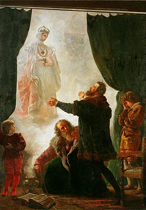 Weiße Frauen - The ghost of Barbara Radziwiłł, oil on canvas, 281 x 189 cm. National Museum in Poznań, Date 1886.