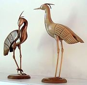 Woodcarvings of cranes