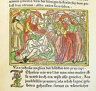 Pope Joan - Pope Joan giving birth. Woodcut from a German translation by Heinrich Steinhöwel of Giovanni Boccaccio's De mulieribus claris, printed by Johannes Zainer at Ulm ca. 1474 (British Museum)