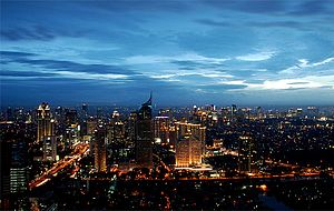 Jakarta panorama on an afternoon after the rai...