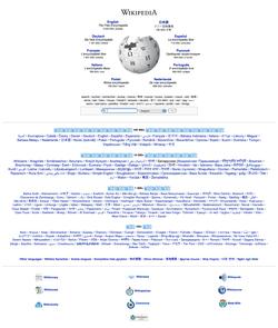 Λεπτομέρεια της πολυγλωσσικής πύλης της Βικιπαίδειας στη διεύθυνση http://wikipedia.org. Εδώ φαίνονται οι μεγαλύτερες γλωσσικές εκδόσεις του έργου.