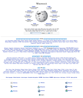 Detail of Wikipedia's multilingual portal. Here, the project's largest language editions are shown.