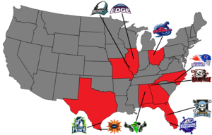 X-League Indoor Football - Map of X-League Teams