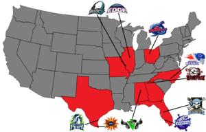 X-League Indoor Football - Map of X-League Teams
