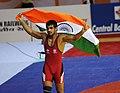 XIX Commonwealth Games-2010 Delhi Wrestling Men's 66kg Freestyle Sushil Kumar of India after wining the Gold medal, at Indira Gandhi Sports Comlex, in New Delhi on October 10, 2010.jpg