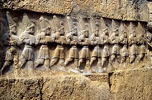 Hittite mythology and religion - Relief from Yazılıkaya, a sanctuary at Hattusa, depicting twelve gods of the underworld