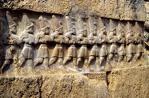 The Yazilikaya sanctuary in Turkey, with the twelve gods of the underworld Yazilikaya B 12erGruppe.jpg