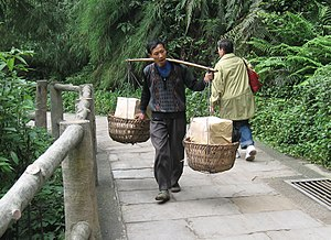 Chinese man carrying a Yoke