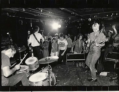 "Aimee Mann playing with her band ""The Young Snakes"" at The Rat, 1981"