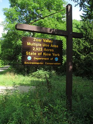 Zoar Valley - Sign at the boundary of the state-managed Zoar Valley Multiple Use Area