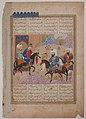 """Abu'l Mihjan and Sa`d ibn Abi Wakkas Become Angry and Leave King Khusrau (?)"", Folio from a Khavarannama (The Book of the East) of ibn Husam al-Din MET sf55-125-3r.jpg"