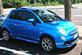 """ 15 - ITALY - Parked automobiles out of Museo Storico Alfa Romeo Milan - in this pics Fiat 500 Blue citycar fashion.jpg"