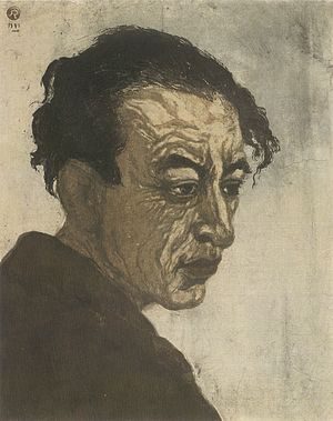 Sōsaku-hanga - Portrait of Hagiwara Sakutarô (Onchi Kôshirô, 1943)