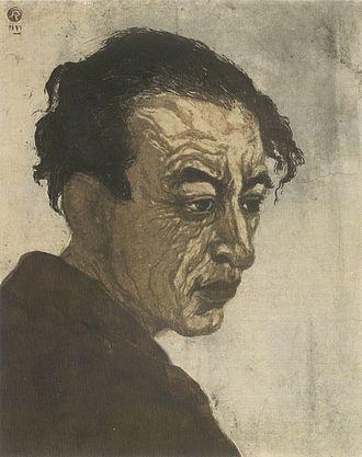 Kōshirō Onchi - Portrait of Sakutarō Hagiwara, woodblock print by Kōshirō Onchi, 1943, 1st edition, National Museum of Modern Art, Tokyo
