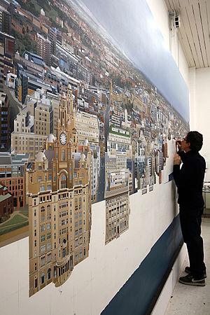 Ben Johnson (artist) - 'The Liverpool Cityscape', Ben Johnson, 2008, Acrylic on Canvas, 244 x 488cm
