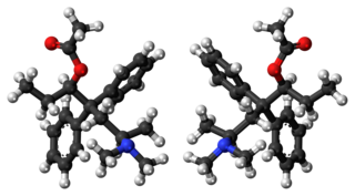 Ball-and-stick models of (R,R)-alphacetylmethadol (left), and (S,S)-alphacetylmethadol (right)