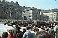 Április 4-i katonai díszszemle, háttérben a Dózsa György út házai a Peterdy utca magasságában. Fortepan 51008.jpg