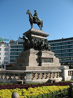 equestrian monument in the centre of Sofia, the capital of Bulgaria