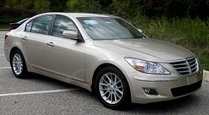 Front-engine, rear-wheel-drive layout - Hyundai Genesis, a modern example of a front-engine, rear-wheel-drive layout sedan