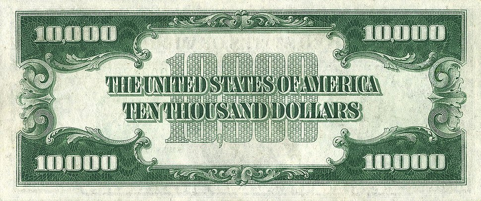 10000 USD note; series of 1934; reverse