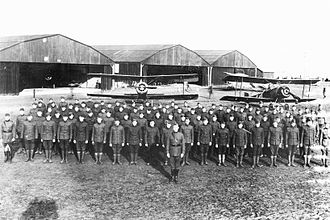 102d Rescue Squadron - 102d Aero Squadron, 2d Air Instructional Center (2d AIC), Tours Aerodrome, France in November 1917. Appears to be Nieuport 28 trainers in the background