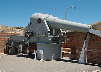 Fort Glanville Conservation Park - 10 inch 20 ton RML gun on a reconstructed carriage. Barbette protected loading system to the right
