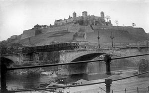 12th Armored Division (United States) - Bailey bridge built over bombed out bridge at base of Marienberg Fortress in Würzburg by the 119th Armored Engineer Battalion of the U.S 12th Armored Division, April 1945