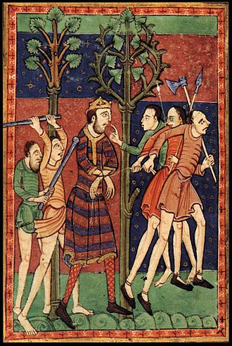 Edmund the Martyr - A 12th-century depiction of Edmund's martyrdom in the Morgan Library & Museum in New York.