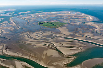 Neuwerk - In this aerial picture, the island Neuwerk appears in green.