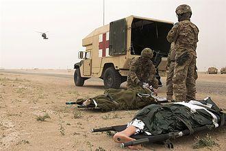 Tactical combat casualty care - MEDEVAC at Tactical combat casualty care training, Camp Buehring, Kuwait, Feb. 23, 2016.