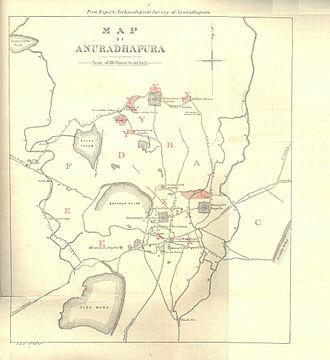 Anuradhapura - 1890 map of Anuradhapura by Harry Charles Purvis Bell