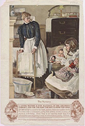 """Alice Barber Stephens - """"The Nursery"""" by Alice Barber Stephens. 1898 Ivory Soap advertisement."""
