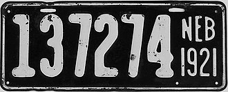 Vehicle registration plates of Nebraska - Image: 1921 Nebraska license plate