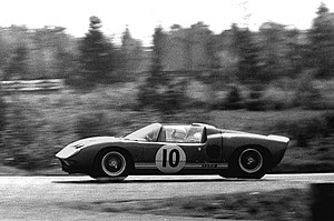 Richard Attwood - Richard Attwood driving the open, spyder version of the Ford GT, at the Nürburgring in 1965.