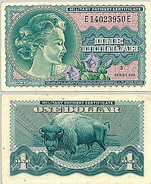 Military payment certificate - One-dollar bill Series 692 ( from the Vietnam War era 1970–73)